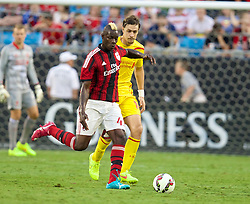 CHARLOTTE, USA - Saturday, August 2, 2014: AC Milan's Mario Balotelli in action against Liverpool during the International Champions Cup Group B match at the Bank of America Stadium on day thirteen of the club's USA Tour. (Pic by David Rawcliffe/Propaganda)