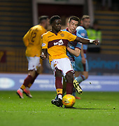 3rd November 2018, Fir Park, Motherwell, Scotland; Ladbrokes Premiership football, Motherwell versus Dundee; Gaël Bigirimana of Motherwell and Cammy Kerr of Dundee