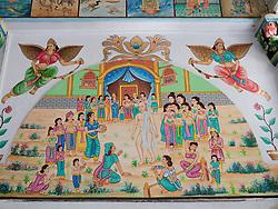 Ornate painted mural at Jain Temple, Mumbai
