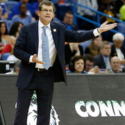 April 7, 2013; New Orleans, LA, USA; Connecticut Huskies head coach Geno Auriemma instructs against the Notre Dame Fighting Irish during the first half in the semifinals during the 2013 NCAA womens Final Four at the New Orleans Arena. Mandatory Credit: Derick E. Hingle-USA TODAY Sports
