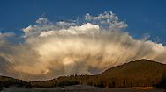 Dramatic thunderstorm passes over mountain meadow and Los Griegos Peak in the Jemez Mountains, © 2014 David A. Ponton