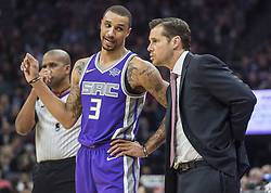 December 29, 2017 - Sacramento, CA, USA - The Sacramento Kings' George Hill (3) talks with head coach David Joerger during action against the Phoenix Suns on Friday, Dec. 29, 2017, at the Golden 1 Center in Sacramento, Calif. (Credit Image: © Hector Amezcua/TNS via ZUMA Wire)