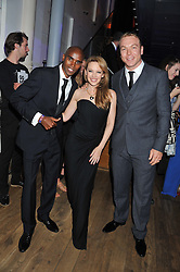 Left to right, MO FARAH, KYLIE MINOGUE and SIR CHRIS HOY at the GQ Men of The Year Awards 2012 held at The Royal Opera House, London on 4th September 2012.