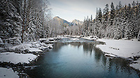 Looking down the Stillaguamish river in winter near th Big Four Ice caves, Washington, USA.