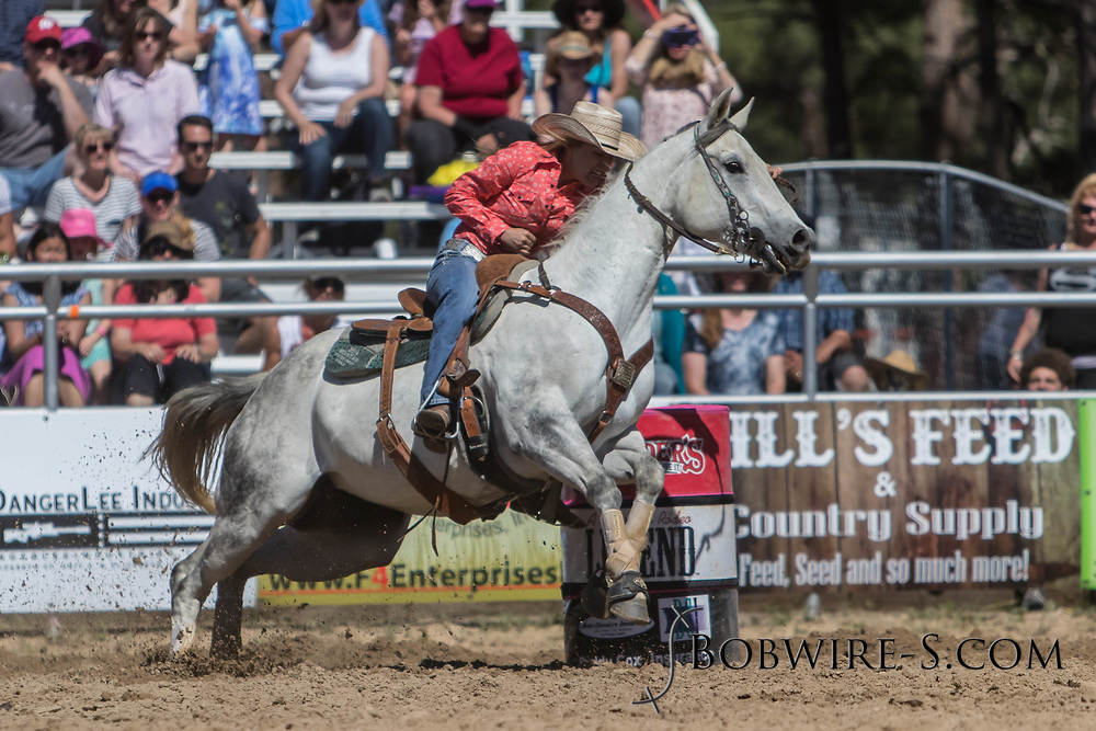 Randi Timmons makes her barrel racing run in the first performance of the Elizabeth Stampede on Saturday, June 2, 2018.