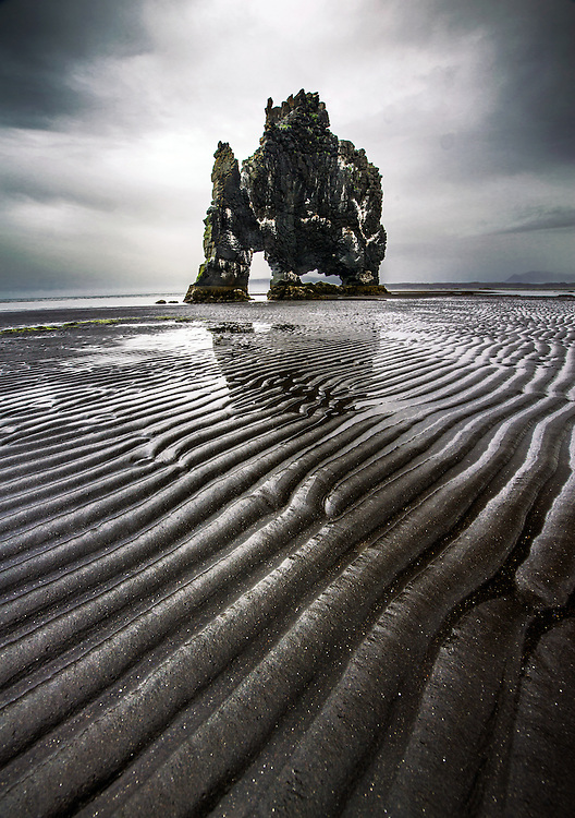 The rock Hvitserkur in north iceland, max rive, coast, Húnafjörður