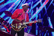 Legendary musician Chuck Berry performs in New Orleans Saturday May 30,2009 as part of the Domino Effect Benefit concert which also featured B.B. King and Little Richard. Domino Effect Benefit Concert legendary performers gather in New Orleans at the Arena to raise funds and awarness for hurricane Katrina rebuilding for Fats Domino the Tipatina Foundation and the Drew Brees' foundation. Photo©Suzi Altman ALL IMAGES ©SUZI ALTMAN. IMAGES ARE NOT PUBLIC DOMAIN. CALL OR EMAIL FOR LICENSE, USE, OR TO PURCHASE PRINTS 601-668-9611 OR EMAIL SUZISNAPS@AOL.COMPhoto©Suzi Altman