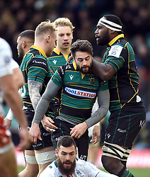 Henry Taylor of Northampton Saints celebrates his try with team-mates - Mandatory byline: Patrick Khachfe/JMP - 07966 386802 - 12/01/2020 - RUGBY UNION - Franklin's Gardens - Northampton, England - Northampton Saints v Benetton Rugby - Heineken Champions Cup