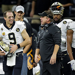 Oct 8, 2018; New Orleans, LA, USA New Orleans Saints quarterback Drew Brees (9) and head coach Sean Payton on the sideline after Brees exited the game with under two minutes remaining in the fourth quarter against the Washington Redskins at the Mercedes-Benz Superdome. The Saints defeated the Redskins 43-19.