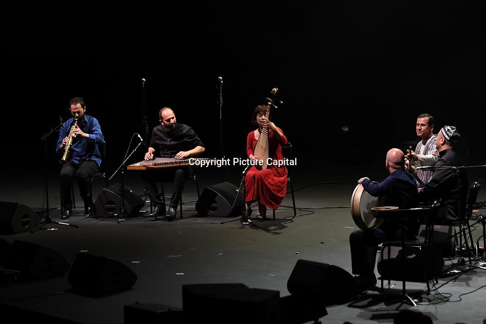 Asia by Feras Charestan,Wu Man,Andrea Piccioni,Basel Rojoub,Sirojiddin Juraev & Abbos Kosimov at the Jubilee - Master Musicians of the Aga Khan Music Initiative at the Royal Albert Hall, London, UK on June 20 2018.