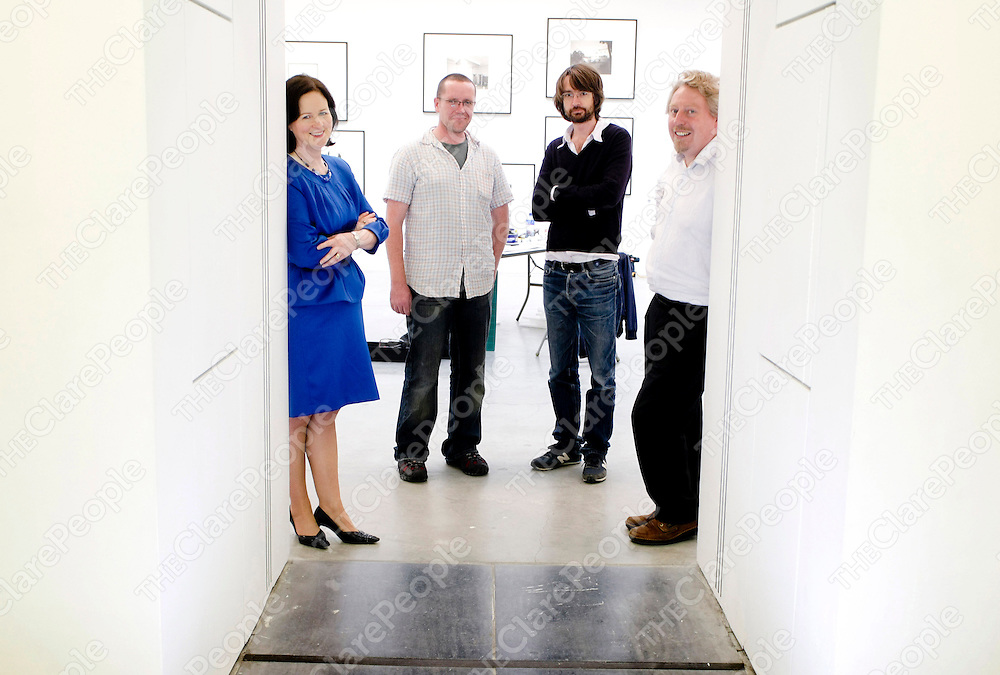 110908 L-R Olivia Loughnane,Ennis Co Clare, Shannon Development Director of Research and Communications,Artist Michael McLoughlin, Artist Simon Starling and Mike Fitzpatrick,Director/Curator Limerick City Gallery of Art.Pic Arthur Ellis/Press22.