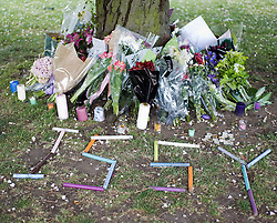 © licensed to London News Pictures.  26/05/2011.  London, UK. Tributes left on a tree in Chiswick, London today (26/04/2011) for 15-year-old Isobel (Issy) Reilly who died of a suspected drugs overdose at the weekend. Isobel became unwell at a house party in North Kensington before being rushed to hospital where she died. Please see special instructions for usage rates. Photo credit should read Ben Cawthra/LNP