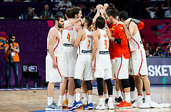 Players of Spain celebrate  after placed third during basketball match between National Teams  Spain and Russia at Day 18 in 3rd place match of the FIBA EuroBasket 2017 at Sinan Erdem Dome in Istanbul, Turkey on September 17, 2017. Photo by Vid Ponikvar / Sportida