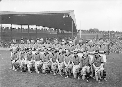 All Ireland Senior Football Championship Final, Kerry v Down, 25.09.1960, 09.25.1960, 25th September 1960, Down 2-10 Kerry 0-8, ..Down Team.Back row (from left) James McCartan, John McAuley, Joe Lennon, Jarleth Carey, P J McElroy, Eamonn Lundy, Leo Murphy, Dan McCartan, Sean O'Neill, Kevin O'Neill, Pat Rice, Eddie Burns, Pat Fitzsimons, Kieran Denvir. Front Row (from left) John Haughian, Eddie McKay, Patsy O'Hagan, Paddy Doherty, Kevin Mussen, George Lavery, Tony Hadden, Brian Morgan, Seamus Kennedy, Eamonn Clements, James Fitzpatrick,..Referee, J Dowling (Offaly),.Captain, K Mussen,.