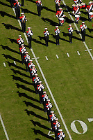 Marching band takes the field prior to football game. PHOTO BY ROGER WINSTEAD