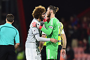 Marouane Fellaini (27) of Manchester United embraces David De Gea (1) of Manchester United at full time after a 2-0 win over Bournemouth during the Premier League match between Bournemouth and Manchester United at the Vitality Stadium, Bournemouth, England on 18 April 2018. Picture by Graham Hunt.