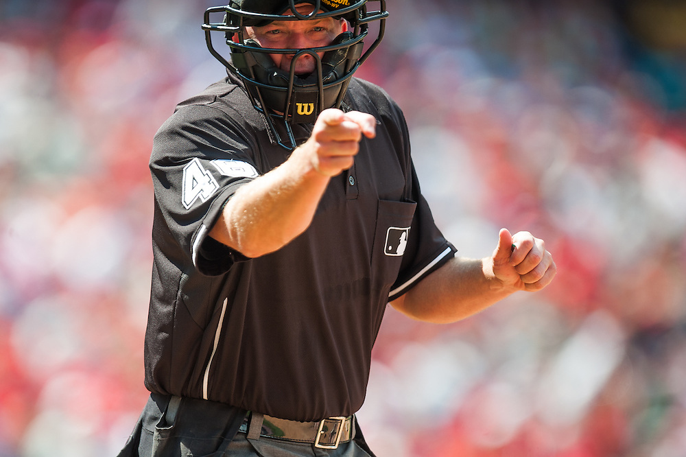 PHILADELPHIA, PA - JUNE 07: Umpire Ron Kulpa #46 gestures during the game between the Philadelphia Phillies and the Los Angeles Dodgers at Citizens Bank Park on June 7, 2012 in Philadelphia, Pennsylvania. (Photo by Rob Tringali) *** Local Caption *** Ron Kulpa