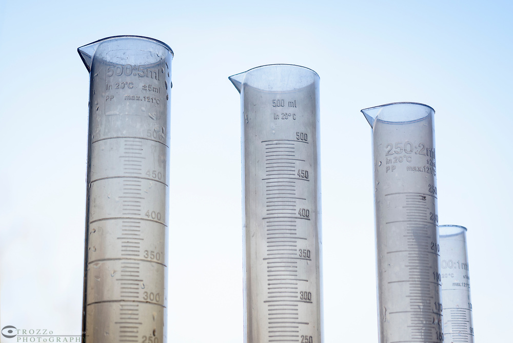 Graduated cylinders in high school classroom.