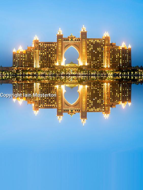 View of The Palm Atlantis luxury hotel on artificial Palm Jumeirah island in Dubai United Arab Emirates