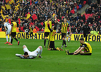 Football - 2018 / 2019 Emirates FA Cup - Semi-Final: Wolverhampton Wanderers vs. Watford<br /> <br /> Etienne Capoue of Watford drops to his knees in celebration at the final whistle, at Wembley Stadium.<br /> <br /> COLORSPORT/ANDREW COWIE