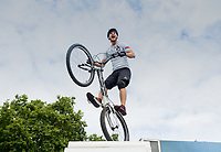 A stunt cyclist from Andrei Burton's team attempts a Guinness World Record in the London Trials Championships, presented by Buxton, at this year's Prudential RideLondon FreeCycle 29/07/2017<br /> <br /> Photo: Tom Lovelock/Silverhub for Prudential RideLondon<br /> <br /> Prudential RideLondon is the world's greatest festival of cycling, involving 100,000+ cyclists – from Olympic champions to a free family fun ride - riding in events over closed roads in London and Surrey over the weekend of 28th to 30th July 2017. <br /> <br /> See www.PrudentialRideLondon.co.uk for more.<br /> <br /> For further information: media@londonmarathonevents.co.uk