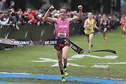 Dec 1, 2018; Portland, OR, USA; Liam Anderson (205) of California celebrates after winning in 14:57.6 during the Nike Cross Nationals at Glendoveer Golf Course.