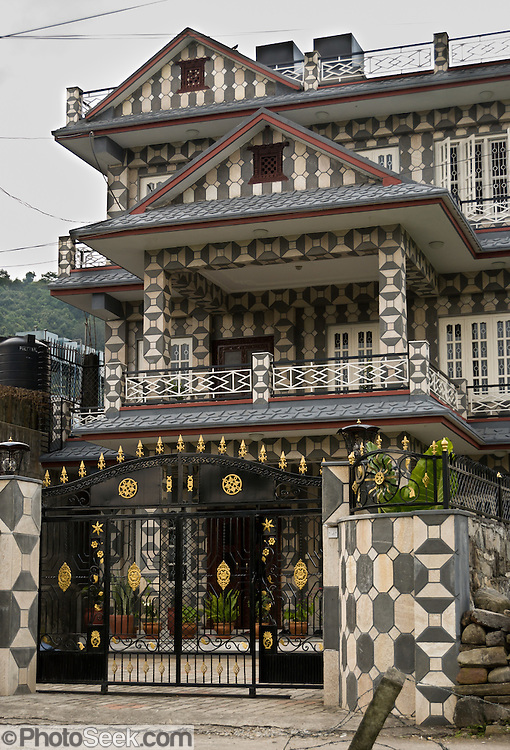 A fancily docorated house at Lakeside, in Pokhara, Nepal.