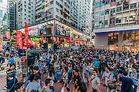Central, Hong Kong, China- June 4 , 2014: people joining the demonstration for the democraty for Hong Kong and the 25th anniversary of the tieanamen Tiananmen Square revolt