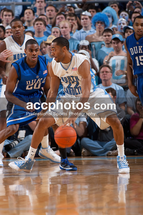 08 March 2009: North Carolina Tar Heels guard Wayne Ellington (22) during a 79-71 win over the Duke Blue Devils at the Dean Smith Center in Chapel Hill, NC.
