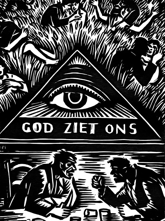 A black / white drawing of an old Flemish use. A board that is found in many homes with the saying, God sees us, to save everyone for their sins.