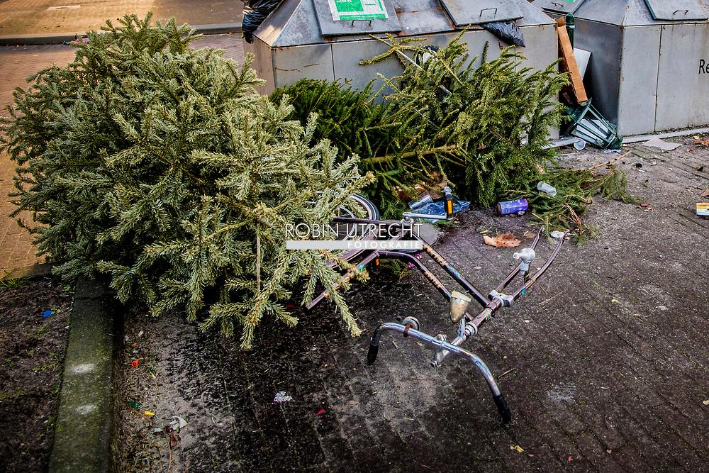 rotterdam - kersbomen zwerven door rotterdam op straat na de kerst bij het afval dumpen kerstboom ROBIN UTRECHT kerstbomen na de kerstdagen  afval prullenbak , ROBIN UTRECHT