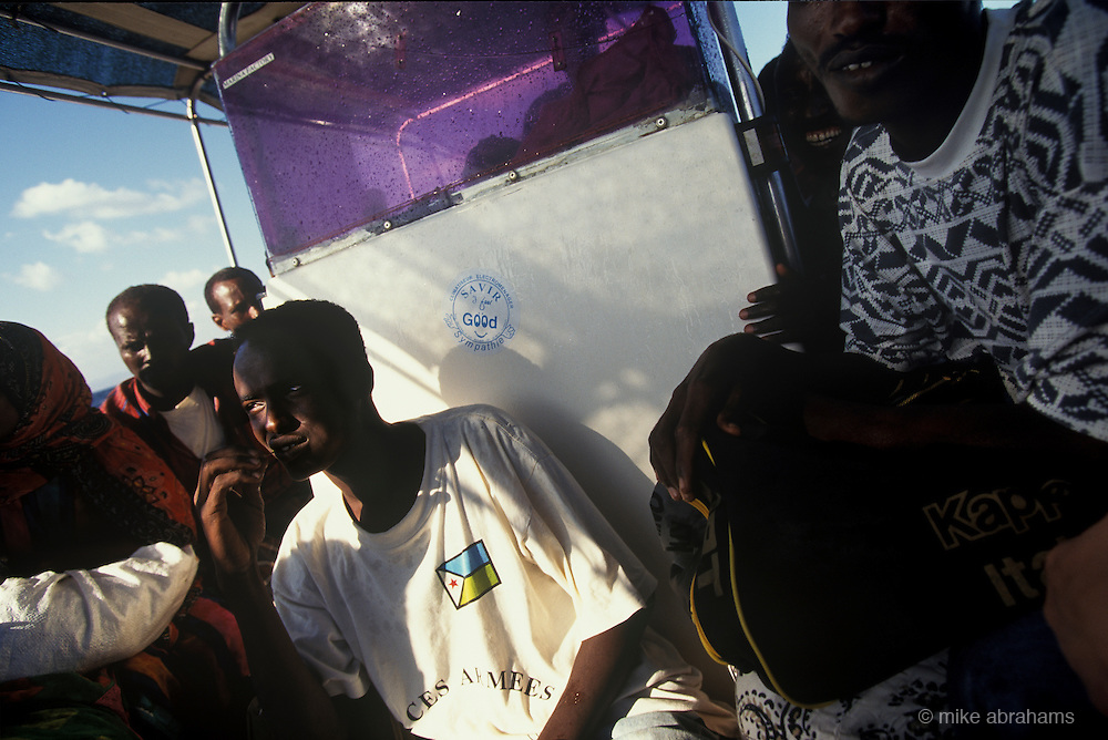 Man chewing khat on boat trip from Djibouti to Obock