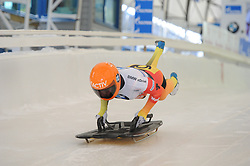 February 23, 2019 - Calgary, Alberta, Canada - Athlete from Germany is on the track during her first heat run at BMW IBSF SKELETON WORLD CUP Calgary Canada 23.02.2019 (Credit Image: © Russian Look via ZUMA Wire)