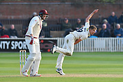 Matt Milnes of Kent bowling during the Specsavers County Champ Div 1 match between Somerset County Cricket Club and Kent County Cricket Club at the Cooper Associates County Ground, Taunton, United Kingdom on 7 April 2019.