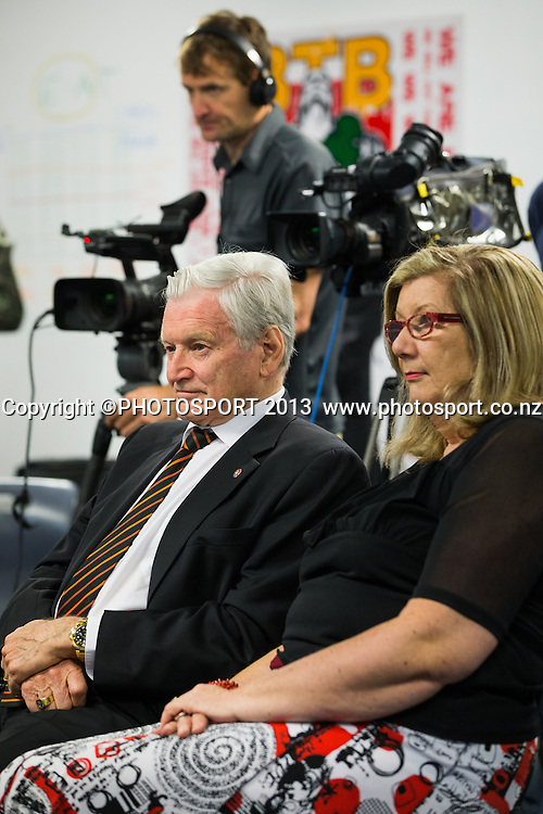 Sir William Gallagher (CEO of Gallagher, principal partner) and Margaret Comer, at a press conference announcing a new licence for Super Rugby Chiefs franchise, at their Ruakura headquarters, Hamilton, New Zealand, Tuesday 10 December 2013. Photo: Stephen Barker/Photosport.co.nz