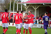 Ebbsfleet United forward Danny Kedwell (9) celebrates Ebbsfleet United midfielder Andy Drury (8) goal 4-1 during the Vanarama National League South match between Ebbsfleet United and East Thurrock United at the Enclosed Ground, Whitehawk, United Kingdom on 4 March 2017. Photo by Jon Bromley.
