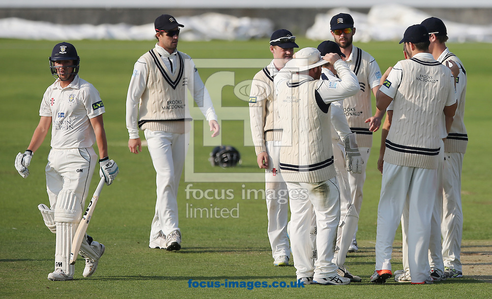 Middlesex celebrate the wicket of Michael Richardson (l) of Durham during the LV County Championship Div One match at Emirates Durham ICG, Chester-le-Street<br /> Picture by Simon Moore/Focus Images Ltd 07807 671782<br /> 23/08/2015