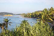 Tropical landscape of palm trees and blue ocean, Mirissa, Sri Lanka, Asia