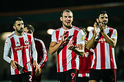 Sunderland Charlie Wyke claps towards the fans after the EFL Sky Bet League 1 match between Rochdale and Sunderland at the Crown Oil Arena, Rochdale, England on 20 August 2019.