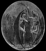 """""""Retribution Will Be Surely Given"""" (quote from Abe Lincoln) A depiction of Confederate President Jeff Davis as the devil in """"a traitors council"""" in Richmond. Detail from a double page spread.   Illustration from Harper's Weekly  1864  by Thomas Nast"""