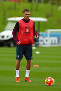 England defender Kieran Gibbs keeps his eye on the ball tduring the England Training Session at St George's Park National Football Centre, Burton-Upon-Trent, United Kingdom on 7 October 2015. Photo by Aaron Lupton.