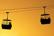 Israel, Dead Sea, Massada, The cable cars at sun set