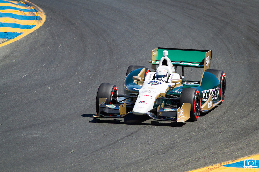 Ed Carpenter, #20, comes out of turn 2 during the GoPro Indy Grand Prix of Sonoma at Infineon Raceway in Sonoma, Calif., on Aug. 26, 2012.  Photo by Stan Olszewski/SOSKIphoto.