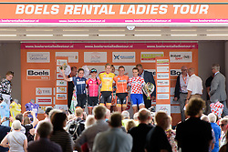 The jerseys are presented to the crowds after the 123 km Stage 3 of the Boels Ladies Tour 2016 on 1st September 2016 in Sittard Geleen, Netherlands. (Photo by Sean Robinson/Velofocus).