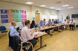 © Licensed to London News Pictures.  04/07/2017; Weston-super-Mare, North Somerset, UK. GRAHAME PAINE (at right), chairman of the Weston Area Health NHS Trust addresses a public board meeting at Weston General Hospital. A protest was held against the overnight closure of Weston General Hospital Accident and Emergency department is held before the Weston Area Health NHS Trust  Board meeting at Weston General Hospital which is to agree the temporary overnight closure of the Accident & Emergency department because of staffing levels, with no projected date given for a return to 24hr service. It was announced last month the A&E unit would be closing between 10pm and 8am from Tuesday 04 July, after a Care Quality Commission inspection raised concerns over the long-term sustainability of staffing levels. The decision has been made on patient safety grounds because the trust cannot provide enough specialist hospital doctors to safely staff the A&E department overnight. Patients arriving by ambulance will instead be taken to either the BRI or Southmead in Bristol, or Taunton's Musgrove Park hospitals, and anyone who would otherwise turn up to the A&E department themselves is being urged to either try to get to Bristol or ring the NHS helpline on 111. Unison, the trade union representing health workers, said it was vital the NHS bosses running Weston's hospital had a plan in place to reinstate the 24 hour service as soon as possible, so the temporary closure didn't become permanent. Unison says the closure comes from a staffing shortage that is the direct result of the government running down the NHS, and that on the week of the NHS' 69th birthday, they value this national treasure and the staff who keep it going more than ever. A hospital spokesman said they had no choice to close the unit after the CQC report rated the A&E department 'inadequate', and that A&E has been fragile for several years as a result of ongoing challenges around medical recruitment and a n