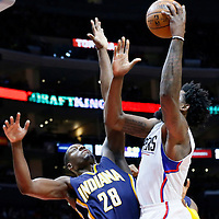 02 December 2015: Los Angeles Clippers center DeAndre Jordan (6) goes for the baby hook over Indiana Pacers center Ian Mahinmi (28) during the Indiana Pacers 103-91 victory over the Los Angeles Clippers, at the Staples Center, Los Angeles, California, USA.