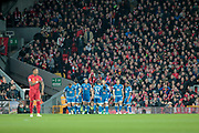 AFC Bournemouth players celebrate taking the lead in front of the Kop as they score a goal and take a 1-0 lead during the Premier League match between Liverpool and Bournemouth at Anfield, Liverpool, England on 5 April 2017. Photo by Mark P Doherty.