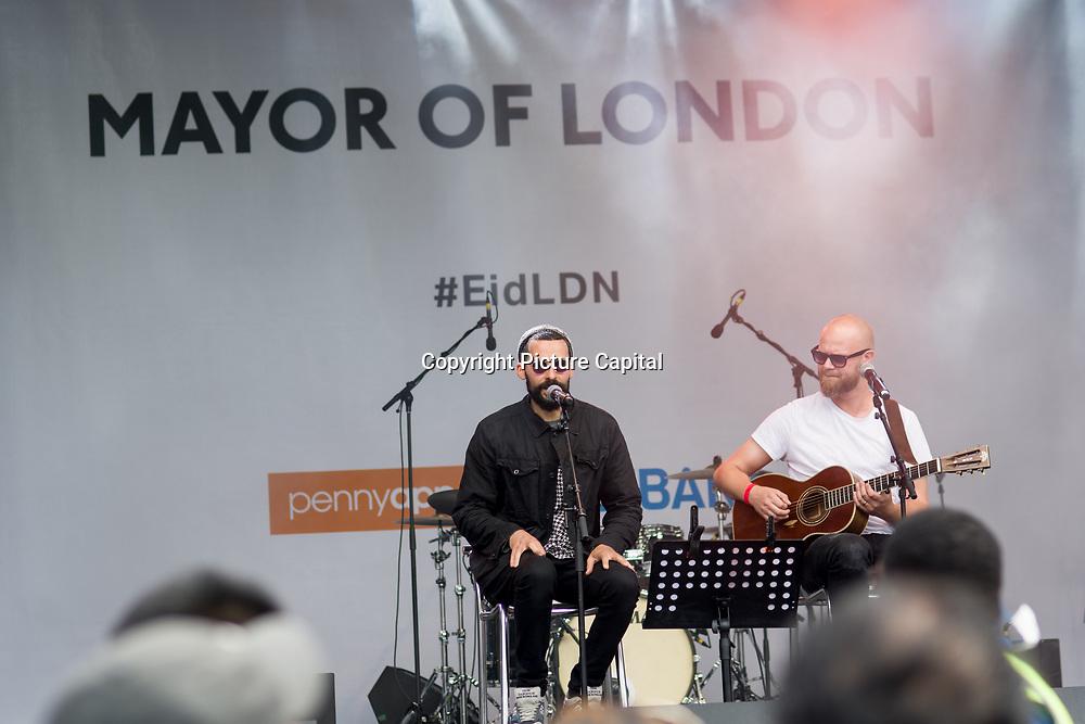 Isam B preforms at the Eid Festival 2018 in Trafalgar Square, London, UK on June 23 2018.