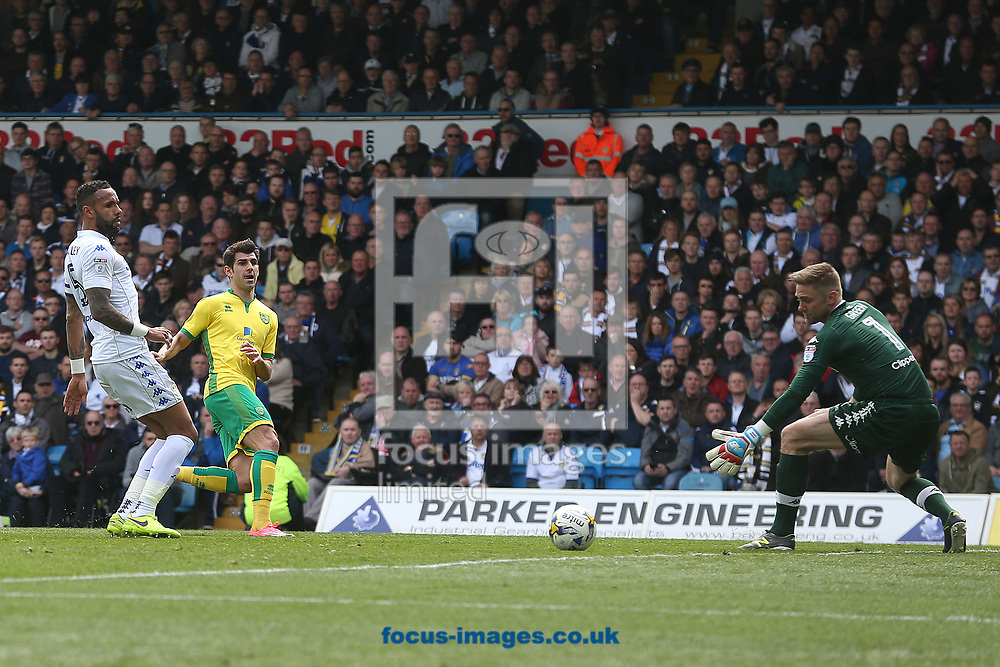 Nelson Oliveira of Norwich goes close during the Sky Bet Championship match at Elland Road, Leeds<br /> Picture by Paul Chesterton/Focus Images Ltd +44 7904 640267<br /> 29/04/2017