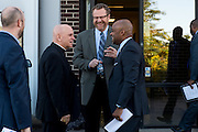 DENVER, CO - OCTOBER 17: Denver Archbishop Samuel Aquila (L) laughs with Catholic Charities CEO Larry Smith and Denver Mayor Michael, Hancock (R) ahead of an announcement for the Samaritan House Shelter for Women on October 17, 2016, in Denver, Colorado. The homeless shelter for women will open in mid-2017. (Photo by Anya Semenoff/Catholic Charities)